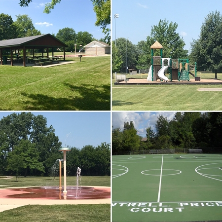 Four images of the Park amenities highlighting the basketball cours, pavilion, baseball field and splash pad