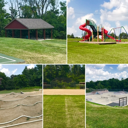 Five images of the Parks highlighting the RC race track, skate park, baseball diamond, playground and pavilion.