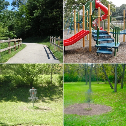Four views of the Park highlighting disc golf, a paved walking trail and the playground