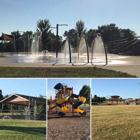 Four vies of the Park highlighting the splash pad on a sunny day