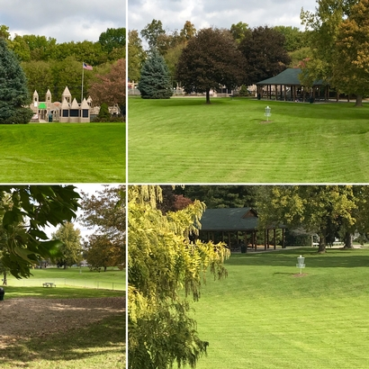 Four views of Memoiral Park showing the pavilion and disc golf course