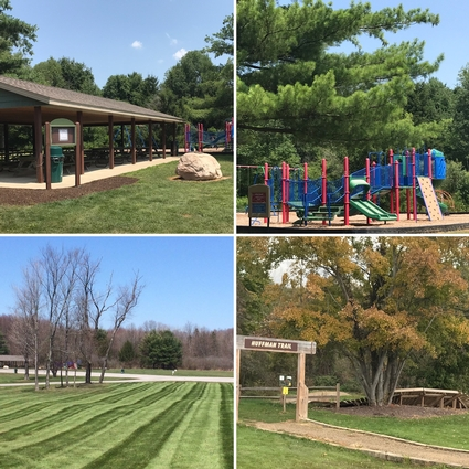 Four views highlighting the soccer fields, playground and pavilion