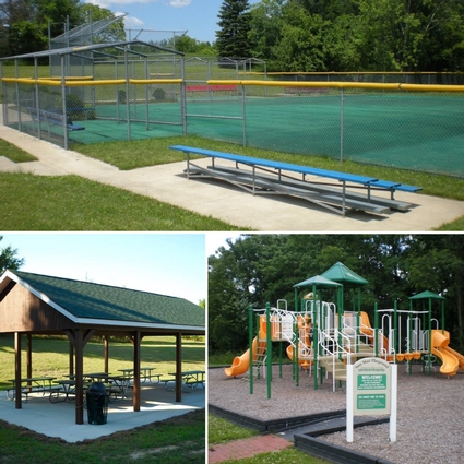 Three views of the Park highlighting the Miracle League softball field, playground and pavilion