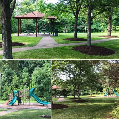 Three views of the Park showing a tree lined path, pavilion and playground